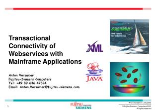 Transactional Connectivity of Webservices with Mainframe Applications