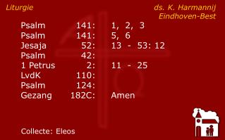 Liturgie ds. K. Harmannij Eindhoven-Best