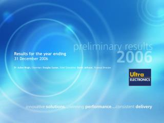 Results for the year ending 31 December 2006