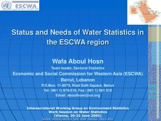 Intersecretariat Working Group on Environment Statistics Work Session on Water Statistics