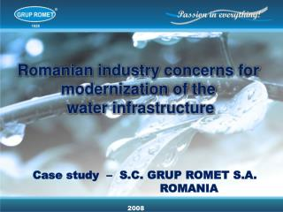 Romanian industry concerns for modernization of the water infrastructure