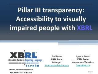 Pillar III transparency: Accessibility to visually impaired people with  XBRL