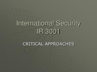 International Security IR 3001