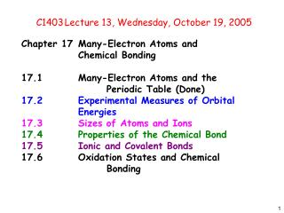 C1403	Lecture 13, Wednesday, October 19, 2005