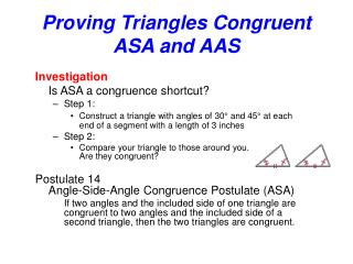 Proving Triangles Congruent  ASA and AAS