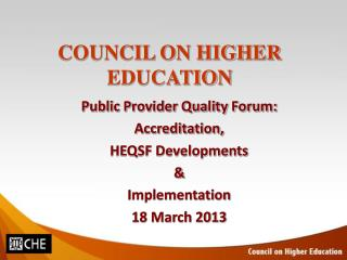 COUNCIL ON HIGHER EDUCATION
