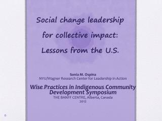 Social change leadership for collective impact: Lessons from the U.S.