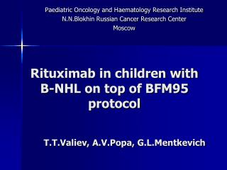 Rituximab in children with B-NHL on top of BFM95 protocol