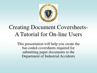 Creating Document Coversheets-  A Tutorial for On-line Users