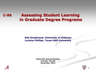 C-99 	  Assessing Student Learning                    	       in Graduate Degree Programs