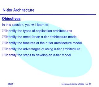 Objectives In this session, you will learn to: Identify the types of application architectures
