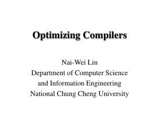 Optimizing Compilers