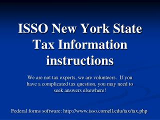 ISSO New York State Tax Information instructions