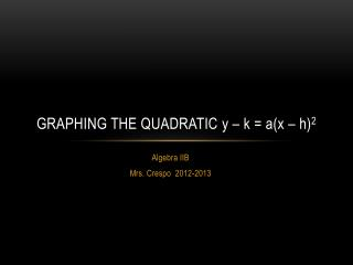 Graphing the quadratic  y – k = a(x – h) 2