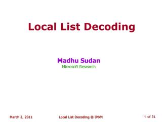 Local List Decoding