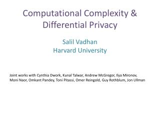 Computational Complexity & Differential Privacy