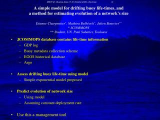 JCOMMOPS database contains life-time information GDP log Buoy metadata collection scheme