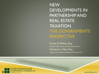 NEW DEVELOPMENTS IN PARTNERSHIP AND REAL ESTATE TAXATION The Governments Perspective