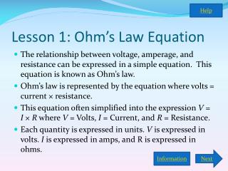 Lesson 1: Ohm's Law Equation