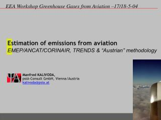 "Estimation of emissions from aviation  EMEP/ANCAT/CORINAIR, TRENDS & ""Austrian"" methodology"