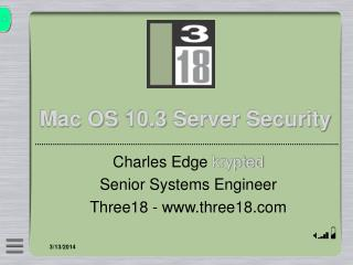 Mac OS 10.3 Server Security