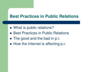 Best Practices in Public Relations
