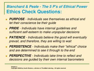 Blanchard & Peale - The 5 P's of Ethical Power Ethics Check Questions: