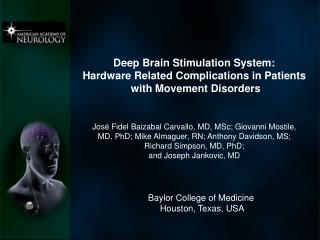 Deep Brain Stimulation System:  Hardware Related Complications in Patients