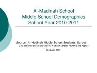 Al-Madinah School  Middle School Demographics School Year 2010-2011
