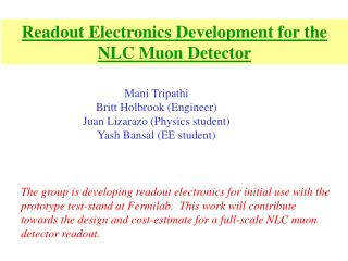 Readout Electronics Development for the NLC Muon Detector