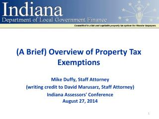 ( A Brief) Overview of Property Tax Exemptions
