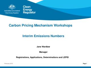 Carbon Pricing Mechanism Workshops