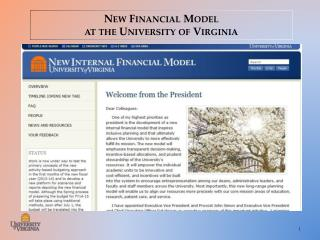 New Financial Model at the University of  Virginia