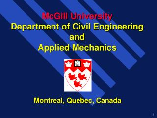 McGill University Department of Civil Engineering and Applied Mechanics