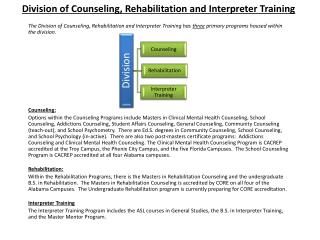 Division of Counseling, Rehabilitation and Interpreter Training