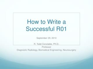 How to Write a Successful R01