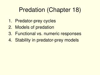 Predation (Chapter 18)