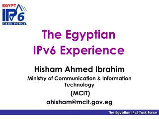 The Egyptian  IPv6 Experience
