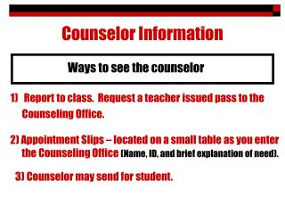 Counselor Information
