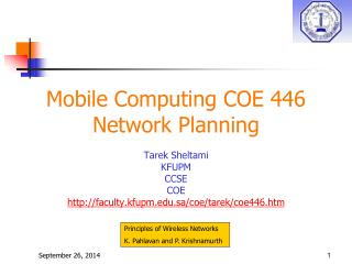 Mobile Computing COE 446 Network Planning