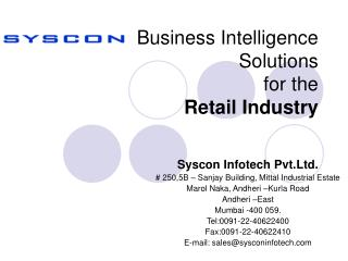 Business Intelligence Solutions for the Retail Industry