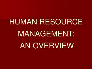 HUMAN RESOURCE MANAGEMENT:  AN OVERVIEW
