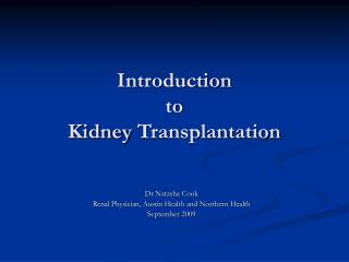 Introduction  to  Kidney  Transplantation