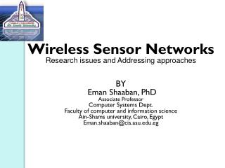 Wireless Sensor Networks Research issues and Addressing approaches BY Eman Shaaban , PhD