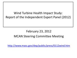 Wind Turbine Health Impact Study:  Report of the Independent Expert Panel (2012)