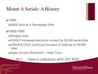 Mount A Serials: A History