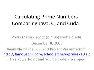 Calculating Prime Numbers Comparing Java, C, and Cuda
