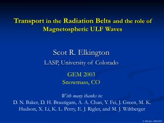 Transport  in the  Radiation Belts  and the role of Magnetospheric ULF Waves