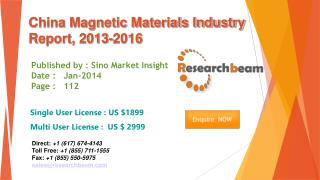 China Magnetic Materials Market Size, Share, Study 2013-2016