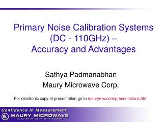 Primary Noise Calibration Systems  (DC - 110GHz) –   Accuracy and Advantages
